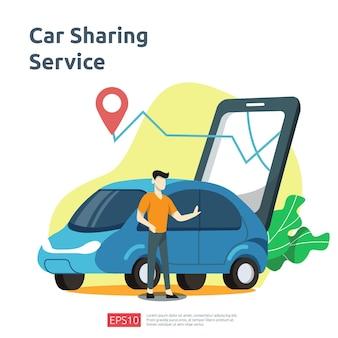 자동차 공유 그림 개념입니다. 방문 페이지, 배너, 웹, ui, 전단지에 대한 gps 지도의 문자 및 경로 지점 위치가 포함된 스마트폰 서비스 응용 프로그램을 사용하여 온라인 택시 또는 임대 교통편