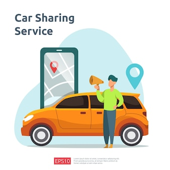 Car sharing illustration concept. online taxi or rent transportation using smartphone service application with character and route points location on gps map for landing page, banner, web, ui, flyer
