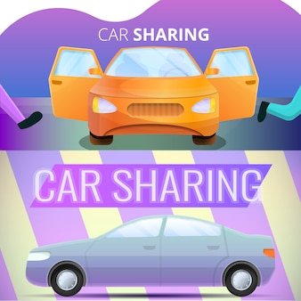 Car sharing illustration set on cartoon style