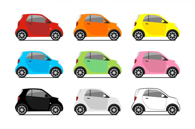 Car sharing logos, vector city micro car set. eco vehicle icons isolated white