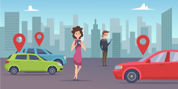 Car sharing. man and woman looking for vehicle with smartphone app. rent car online