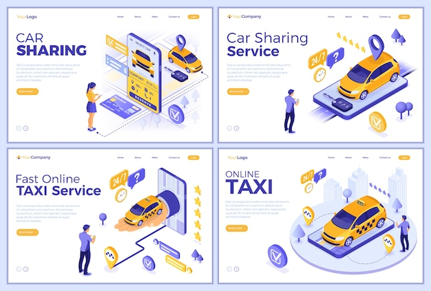 Car sharing and online taxi landing page templates. man and girl online choose car for carsharing or taxi. auto rental, carpool, shared through mobile application. isometric