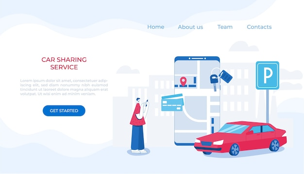Car sharing and online taxi service concept. mobile application for renting a car and calling a taxi
