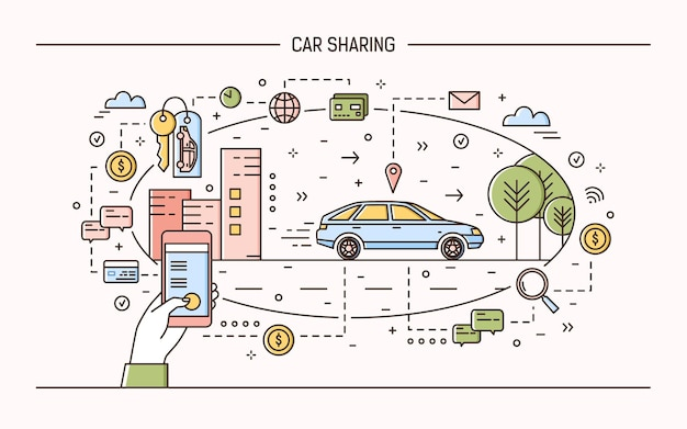 Car sharing and rental electronic service or carsharing application concept. modern  illustration in linear style.