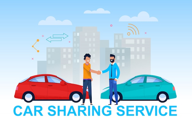 Car sharing service banner. vehicle handover.