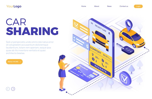 Car sharing service concept. girl online choose car for carsharing.