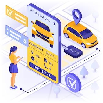 자동차 공유 서비스 개념. 소녀 온라인 자동차 공유를 위해 자동차를 선택합니다.