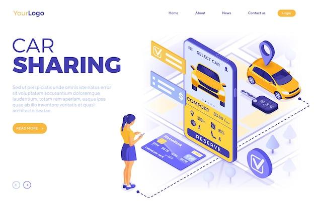 자동차 공유 서비스 개념. 온라인 소녀는 carsharing을 위해 차를 선택합니다.