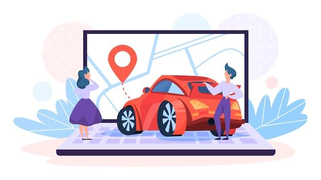 자동차 공유 서비스 개념. 차량의 아이디어