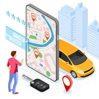 자동차 공유 서비스 개념. 온라인 남자는 carsharing을 위해 차를 선택합니다.