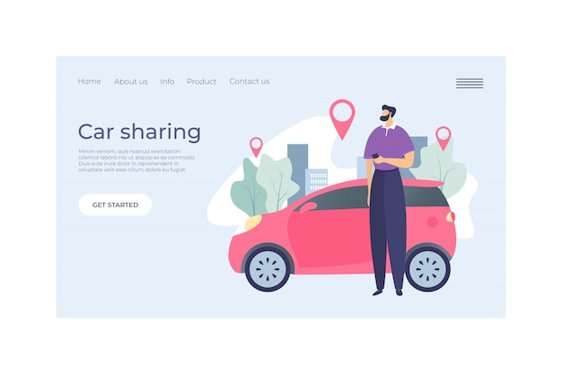 Car sharing service landing concept web banner   illustration. character male urban rent vehicle, point gps sign. man hold mobile phone.