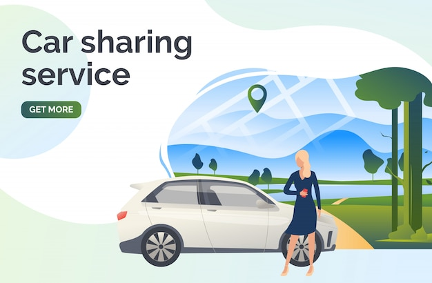 Car sharing service lettering, woman, car and landscape