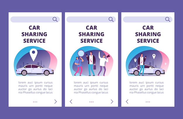 Car sharing service mobile app pages vector template