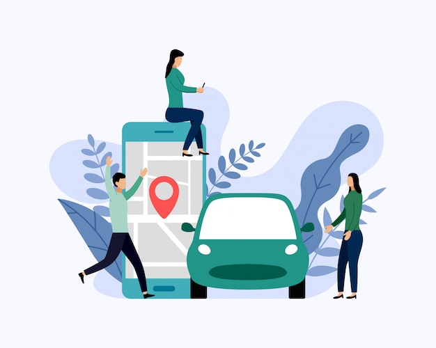 Car sharing service, mobile city transportation, business concept vector illustration