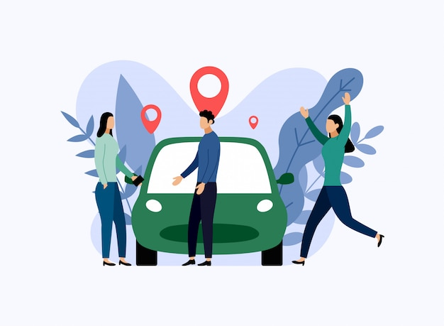 Car sharing service, mobile city transportation, business  illustration