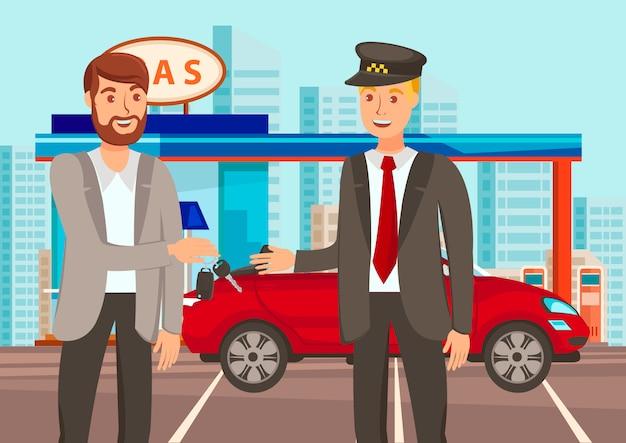 Car sharing valet parking flat vector illustration