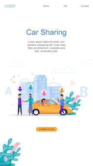 Car sharing vertical banner and modern online carpool service layout