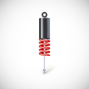 Car shock absorber and spring. icon, isolated on white background