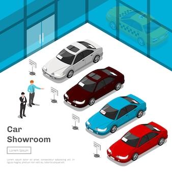 자동차 쇼룸. 자동 비즈니스 쇼룸 또는 자동차 판매 살롱 3d 평면 아이소 메트릭 그림