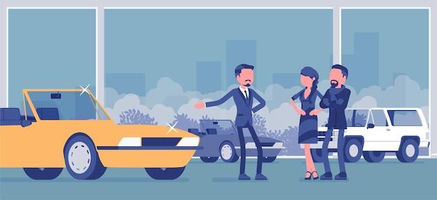 車のショールーム、ディーラー、車両の購入者。販売のための高価なカブリオレを提供する男性の売り手、男性と女性、販売代理店で新しい家族の自動車を選ぶカップル。