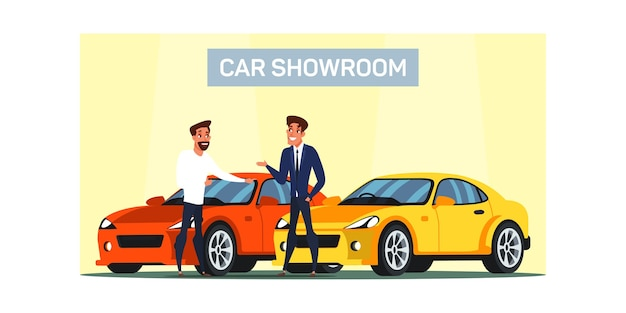 Car showroom   illustration. man buying new luxury vehicle. car dealership service. auto buyer and seller cartoon characters. shop consultant helping customer choosing automobile