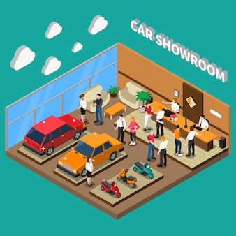 Car showroom isometric illustration