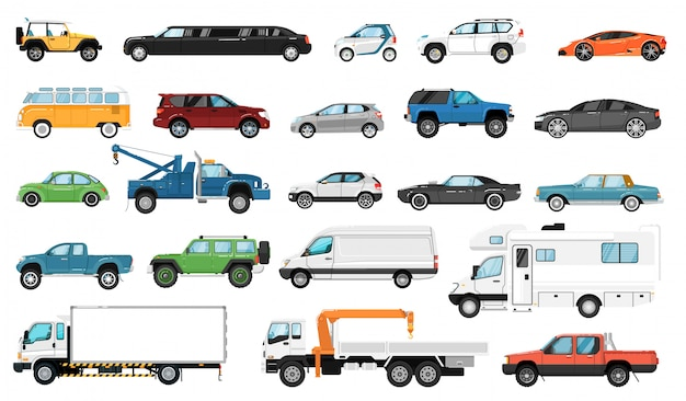 Car side view. bus, motorhome, hatchback, van, tow truck, sedan, pickup, taxi, limousine, suv car vehicle isolated icon set. city auto motor transport models, transportation.