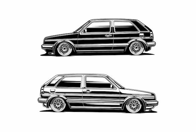 Силуэт автомобиля классический вид сбоку