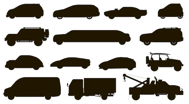 車のシルエット。自動車の種類が異なります。孤立したハッチバック、cuv、バン、レッカー車、セダン、タクシー、suv車車両フラットアイコンコレクション。都市の自動車の輸送タイプと輸送