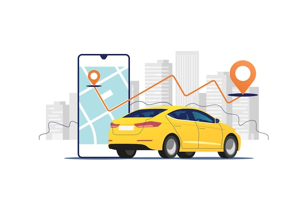 Car, smartphone with route on the urban landscape background. car and satellite navigation systems.