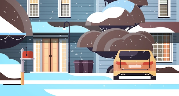 Car on snow covered house yard in winter season house building with decorations for new year and christmas celebration horizontal vector illustration