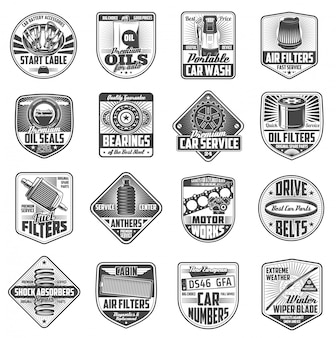 Car spare parts, oil and fuel filter. auto service badge set