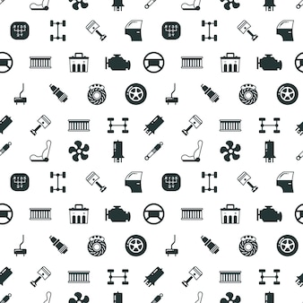 Car spare parts vector seamless pattern