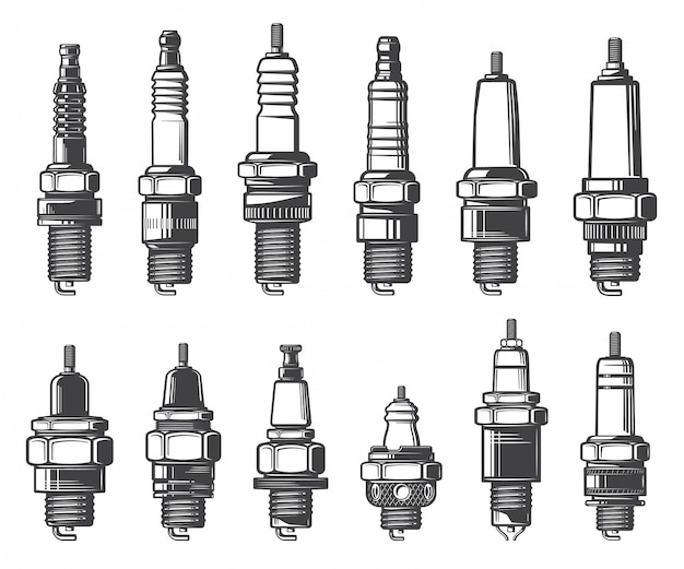 Car spark plugs types,   icons