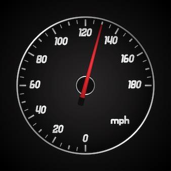 Автомобильный спидометр в милях с красной стрелкой.