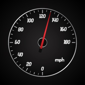 Car speedometer in miles with red arrow.