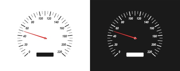 Автомобильный спидометр на белом и черном фоне. устройство для измерения скорости. векторные иллюстрации, изолированные в плоском стиле