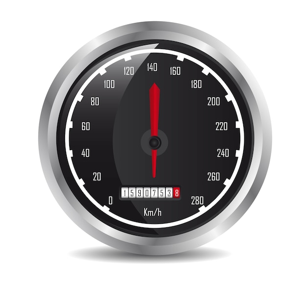 Car speedometer with shadow over white background vector