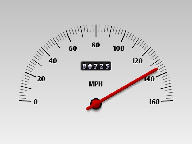 Car speedometer with speed level scale or tachometer vector illustration isolated