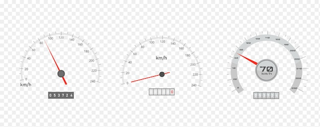 Car speedometer with speed level scale or tachometer