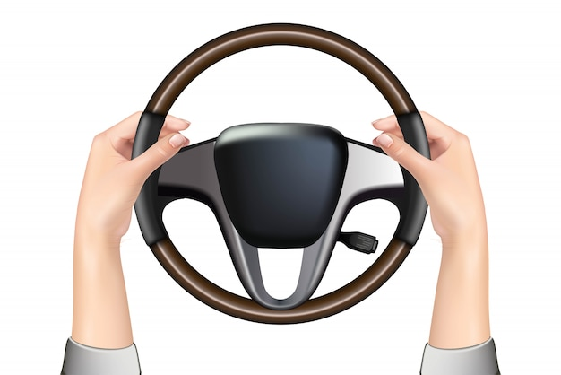 Car steering wheel and hands holding it, isolated on white