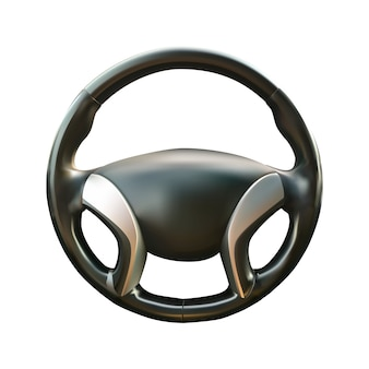 Car steering wheel  realistic illustration on white isolated