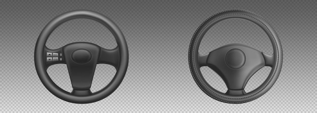 Car steering wheels, auto part for control drive and turn. realistic set of black leather automobile steering wheels .