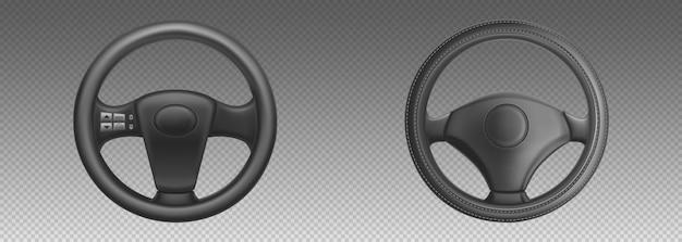 자동차 핸들, 제어 드라이브 및 회전을위한 자동차 부품. 검은 가죽 자동차 스티어링 휠의 현실적인 집합입니다.