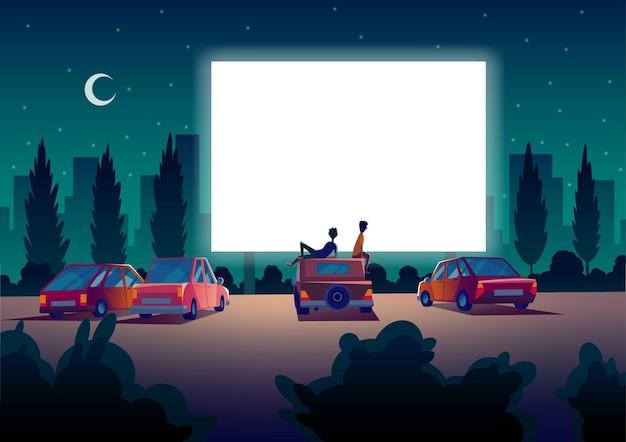 Автомобильный уличный кинотеатр. театр для проезда автомобилей с автомобилями стоит в ночное время на открытой стоянке. большой уличный экран. ночь кино.
