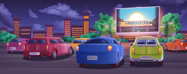 Car street cinema. drive-in movie theater with automobiles on open air parking at summer night. outdoor large screen glowing in darkness. urban entertainment, film festival concept in cartoon style.