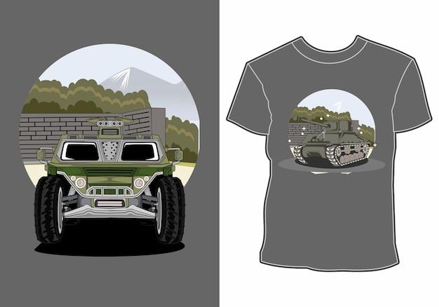 Автомобиль лето закат пляж море природа линия графическая иллюстрация искусство дизайн футболки Premium векторы