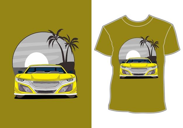 Car summer sunset beach sea nature line graphic illustration art t-shirt design
