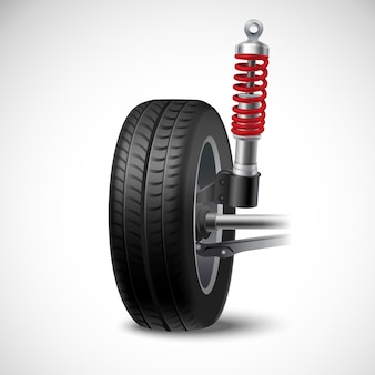 Car suspension realistic icon with wheel tire and shock absorber