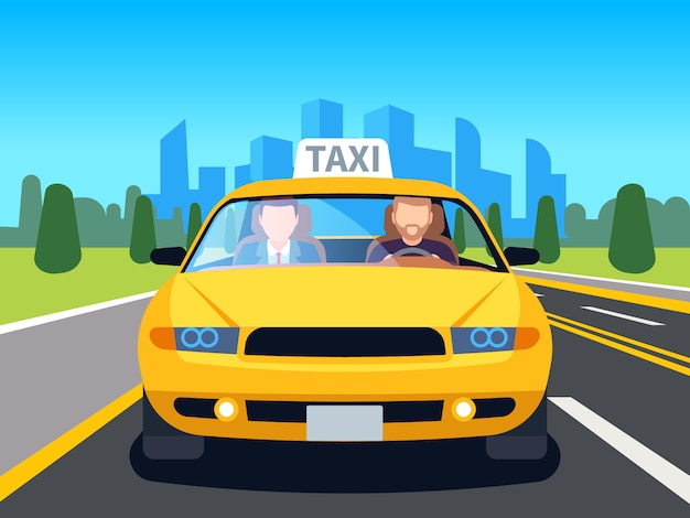 Car taxi driver. client auto cab inside passenger man profession navigation safety comfort commercial taxi cartoon